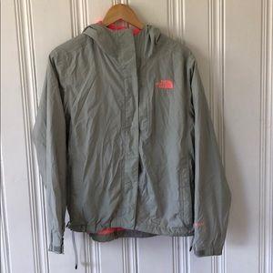 North Face gray and hot pink rain jacket